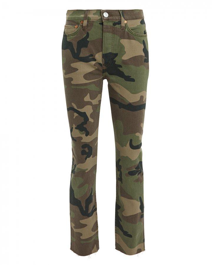 High-Rise Camo Crop Jeans