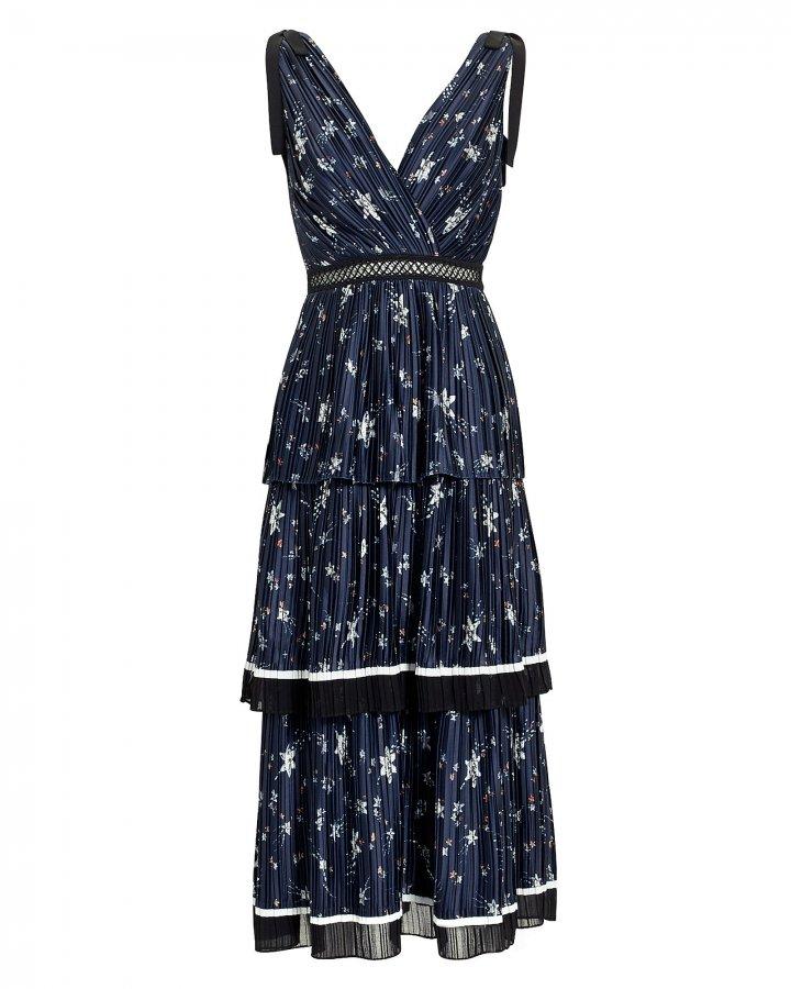Star Print Tiered Midi Dress