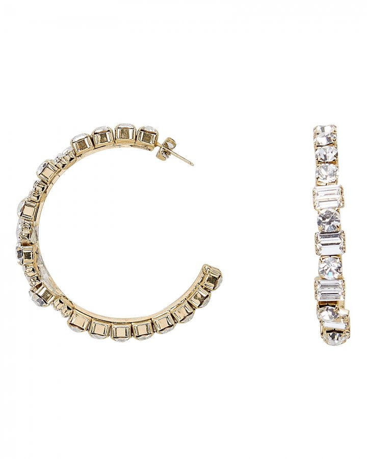 Gelo Baguette and Round Crystal Hoops