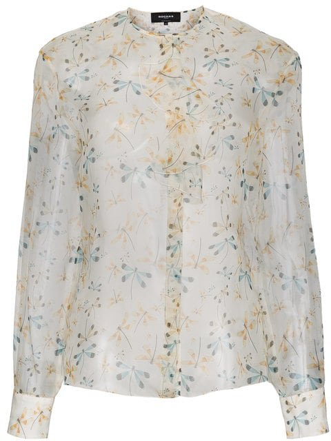 Rochas Dragonfly Print Silk Sheer Blouse - Farfetch