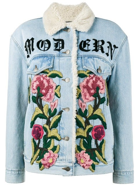 Gucci Embroidered Shearling Denim Jacket - Farfetch
