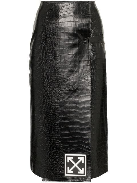 Off-White High-Waisted Leather Pencil Skirt - Farfetch