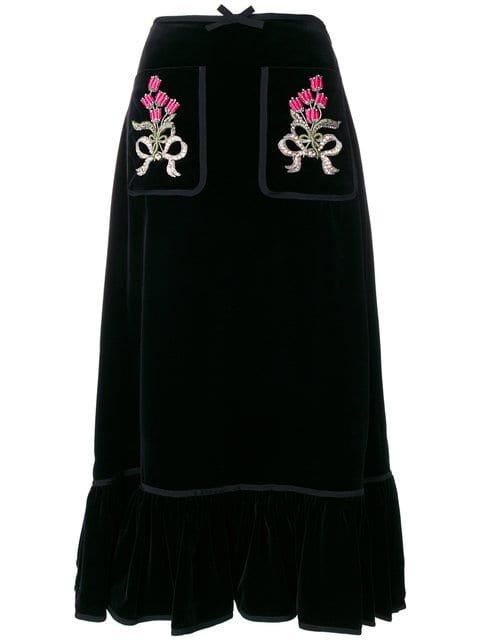 Gucci Floral Embroidered Midi Skirt - Farfetch