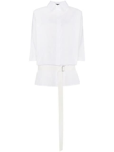 Ann Demeulemeester Oversized Belted Cotton Shirt - Farfetch