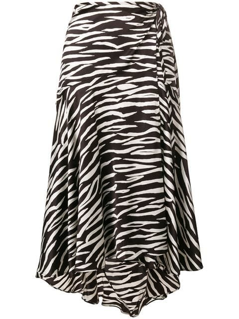Ganni Zebra Print Wrap Skirt - Farfetch