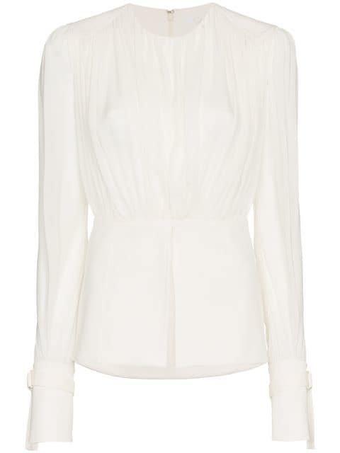 Chloé White Sheer Gathered Silk Blouse - Farfetch