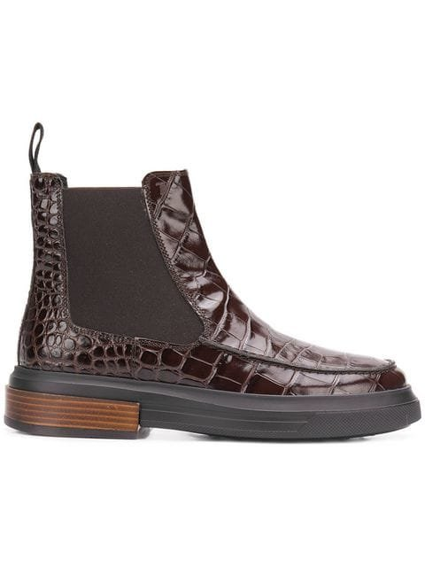 Tod\'s Croc-effect Ankle Boots - Farfetch