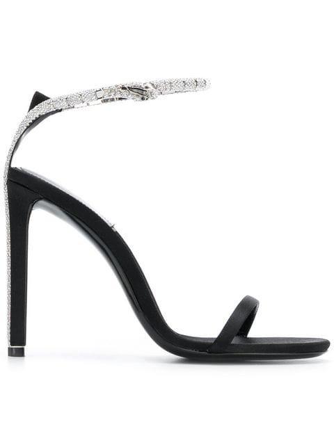 Saint Laurent Black Kate 105 Crystal Embellished Satin Sandals - Farfetch
