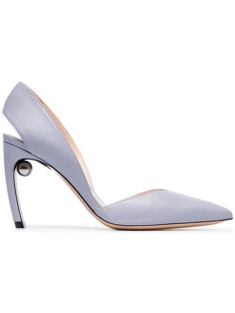 Nicholas Kirkwood Platinum Blue Mira Pearl 90 Leather Pumps - Farfetch