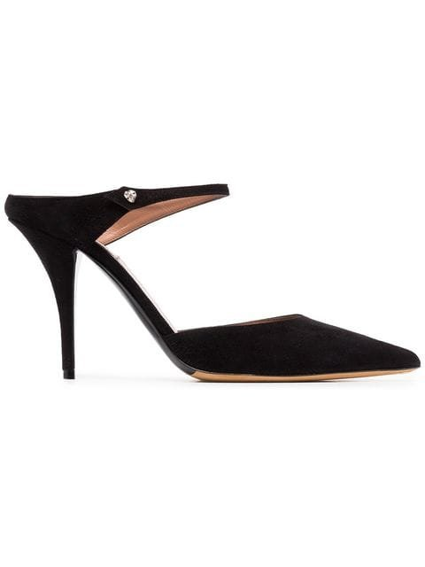 Tabitha Simmons Black Allie 95 Suede Mules  - Farfetch