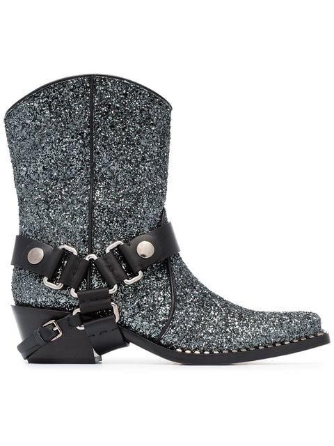Miu Miu 40 Glitter Cowboy Boots - Farfetch