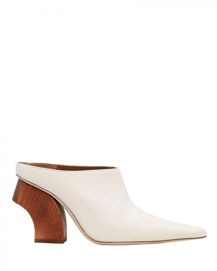 Yasmin Wooden Heel White Mules