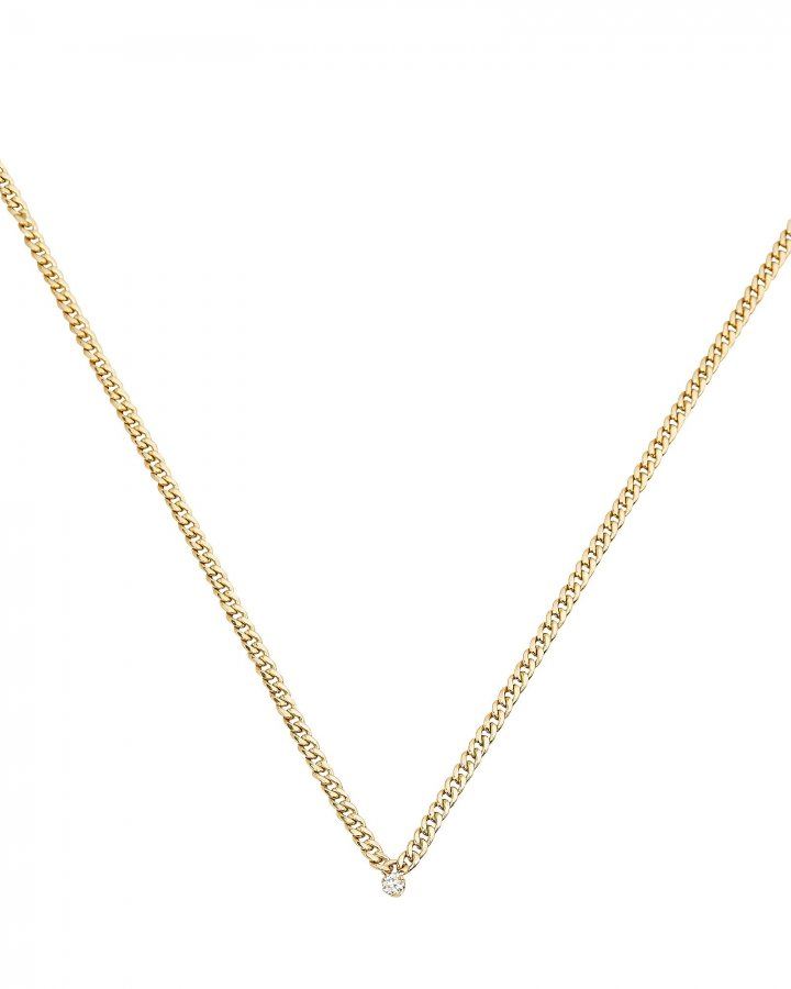 Diamond Small Curb Chain Necklace