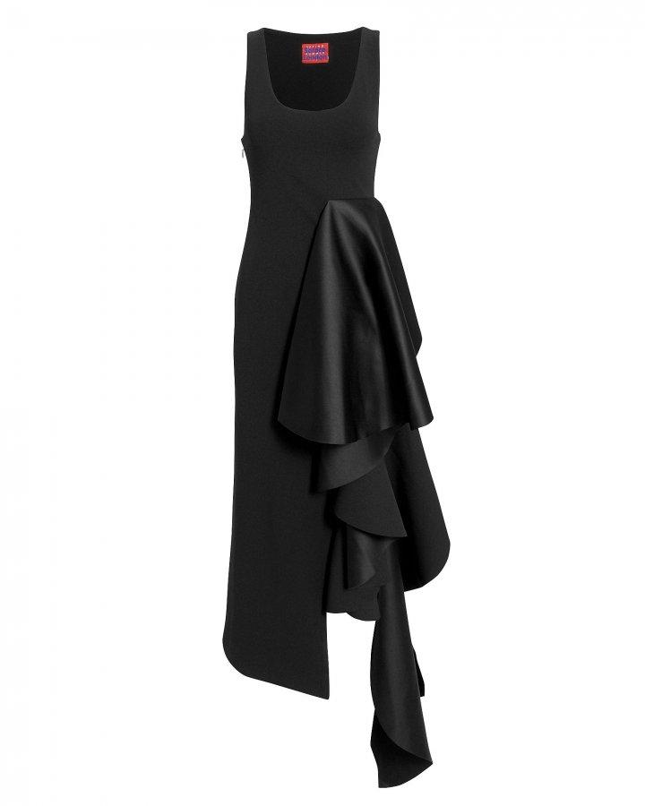 Naya Ruffle Black Dress
