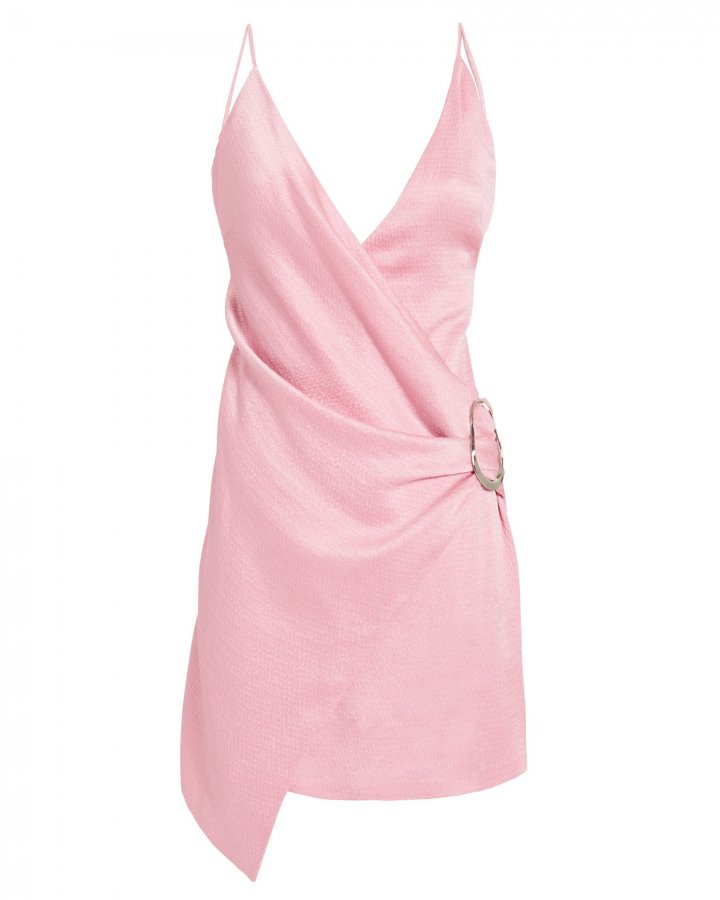 Wrap-Effect Pink Mini Dress