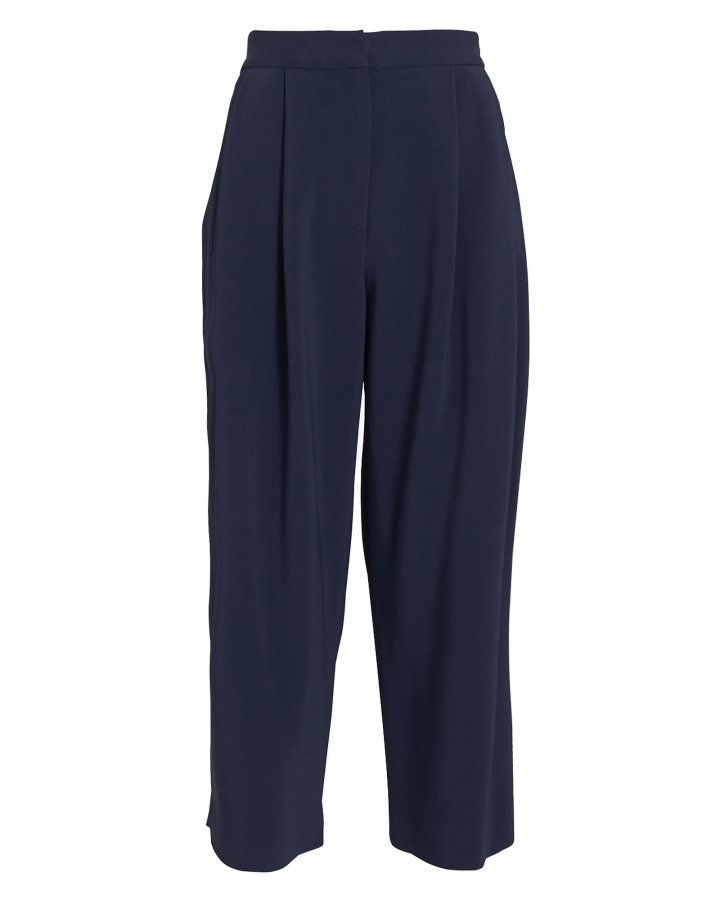 Cady Pleat Front Navy Culottes