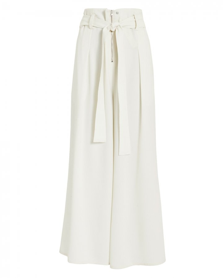 Ivory Crepe Paperbag Waist Pants