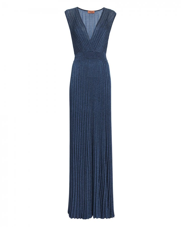 Lurex Pleated Maxi Dress