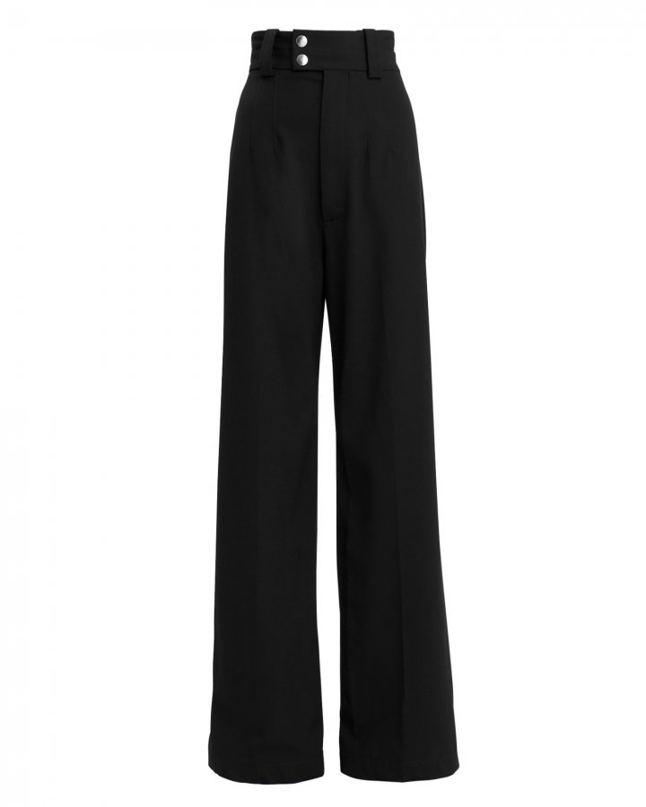 Snap Button Detail Wool Trousers