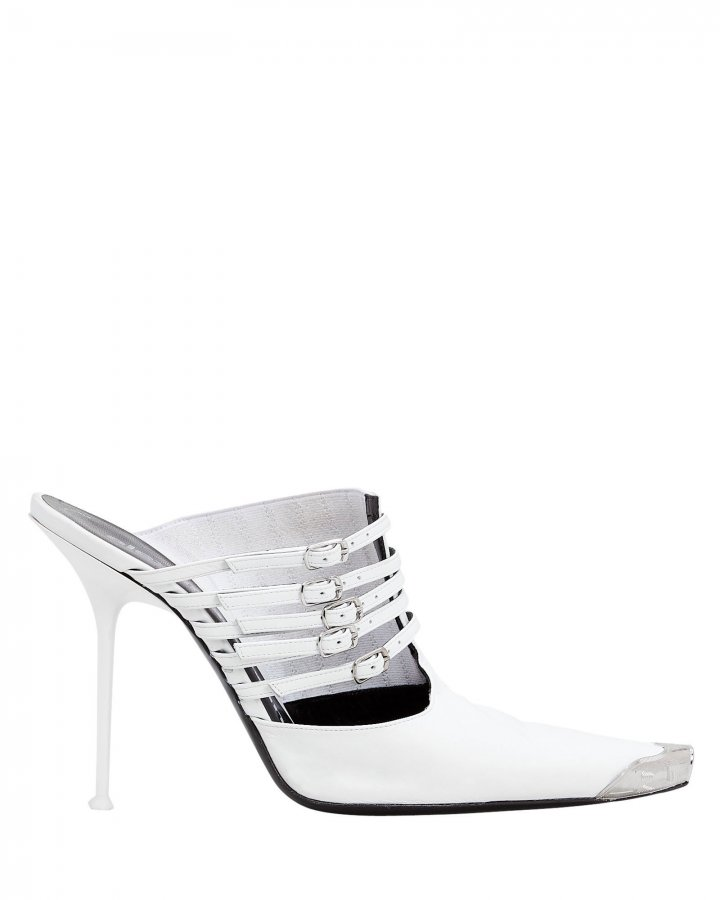 Minna Cap Toe White Stiletto Mules