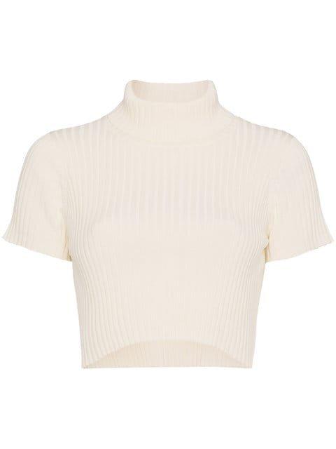 Staud Cotton Cropped Rib Top - Farfetch