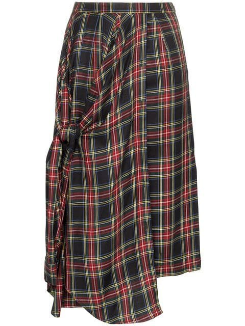 PushBUTTON Asymmetric Tartan Midi Skirt - Farfetch