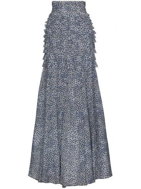 Ronald Van Der Kemp Silk Floral Maxi Skirt With Ruching - Farfetch