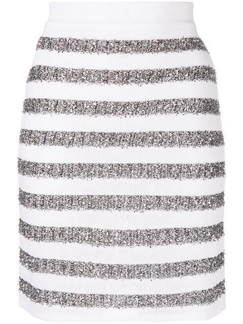 Balmain Glitter Striped Mini Skirt - Farfetch