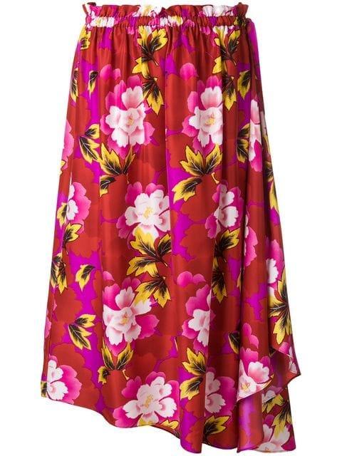 Kenzo Floral Print Asymmetric Skirt - Farfetch