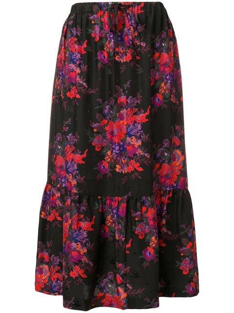 McQ Alexander McQueen Floral Flared Skirt  - Farfetch