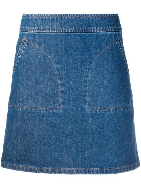 A.P.C. Patch Pocket Denim Skirt - Farfetch
