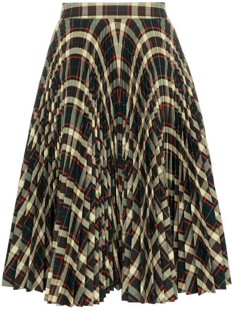 Calvin Klein 205W39nyc High Waisted Check Pleated Skirt - Farfetch