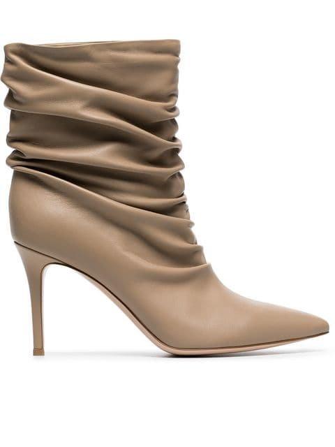 Gianvito Rossi Nude Cecile 85 Leather Boots - Farfetch