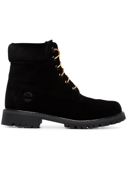 Off-White X Timberland Black Velvet Boots - Farfetch