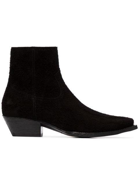 Saint Laurent Black Lukas 40 Suede Cowboy Ankle Boots - Farfetch