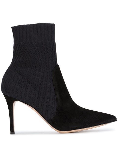 Gianvito Rossi Black Suede Knitted 90 Sock Boots - Farfetch