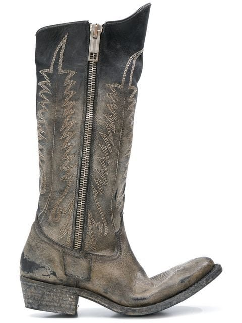 Golden Goose Deluxe Brand Distressed Zipped Western Boots - Farfetch