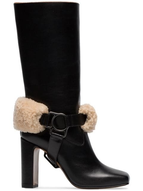 Off-White Riding XX Leather And Shearling Boots - Farfetch