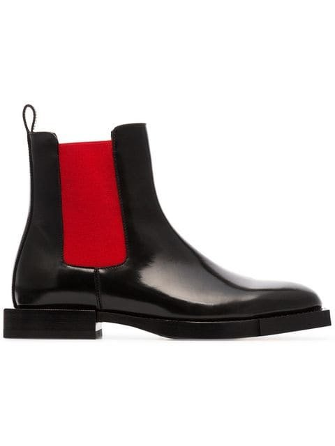 Alexander McQueen Black And Red Chelsea Leather Boots - Farfetch