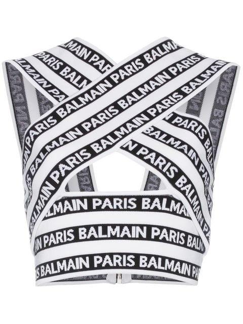 Balmain Knit Cross Neck Logo Top - Farfetch