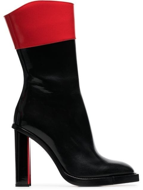 Alexander McQueen Black And Red Hybrid 105 Leather Boots - Farfetch