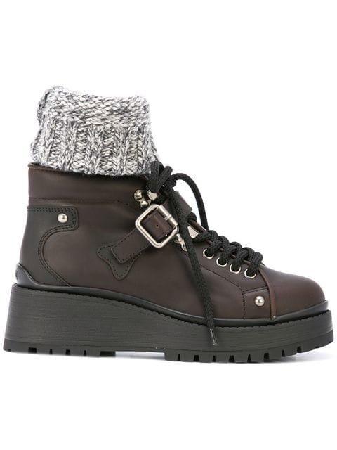 Miu Miu Shearling Trim Ankle Boots - Farfetch