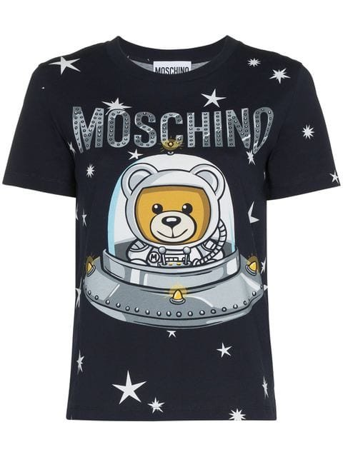 Moschino Space Bear Teddy Logo Cotton T-shirt - Farfetch