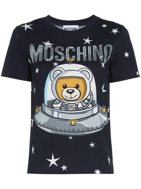 Moschino Space Bear Teddy Logo Cotton T-shirt - Farfetch