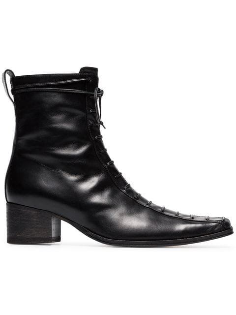 Haider Ackermann Black Lace Up 50 Leather Boots - Farfetch