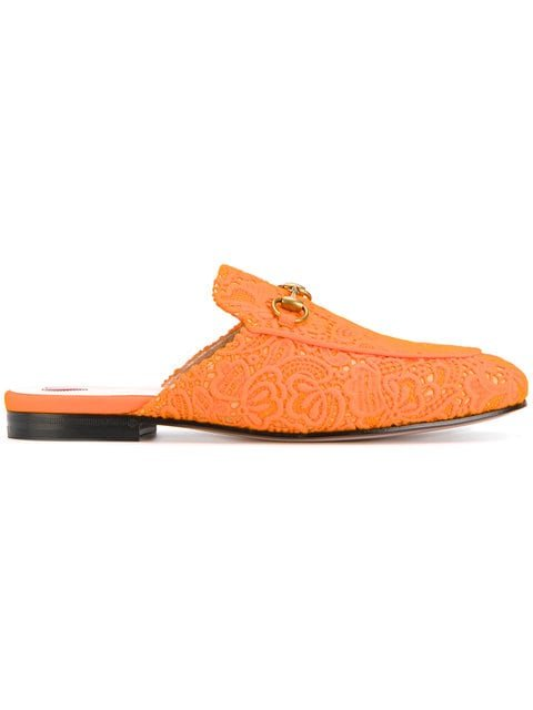 Gucci Orange Princetown Lace Mules - Farfetch