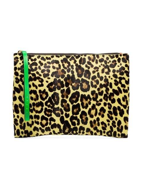 Marni Multicoloured Leopard Print Calf Hair And Leather Clutch - Farfetch