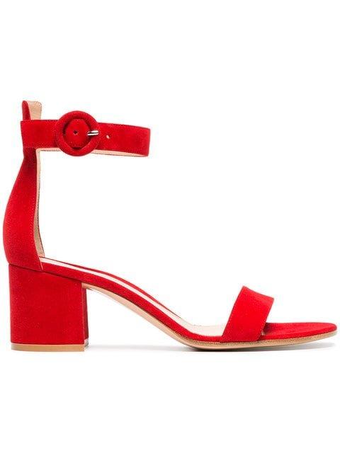Gianvito Rossi Red Portofino 60 Suede Sandals - Farfetch