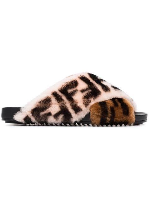 Fendi FF Logo Shearling Sandals - Farfetch