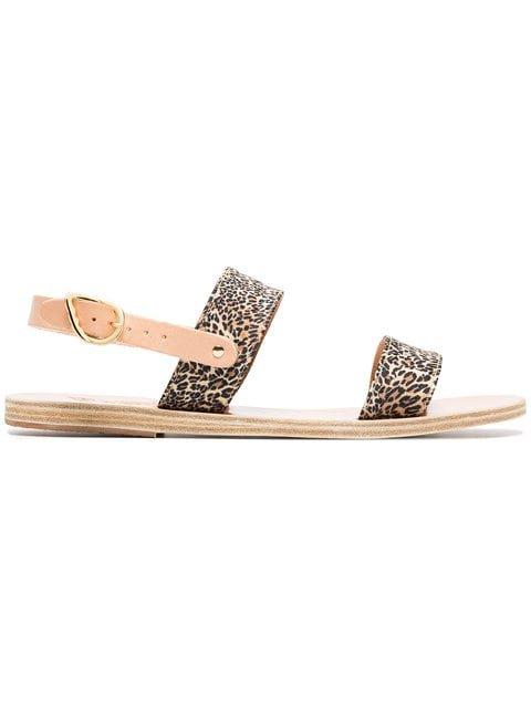 Ancient Greek Sandals Brown Dinami Leopard Print Satin Sandals - Farfetch
